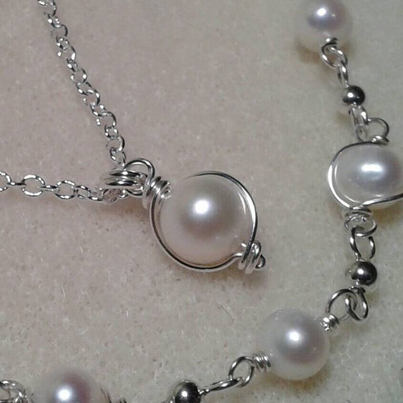Pearl Jewelry Set Gold Fill Sterling Silver Freshwater Coin Pearl Necklace and Hypoallergenic Earrings June Birthstone Jewelry Set