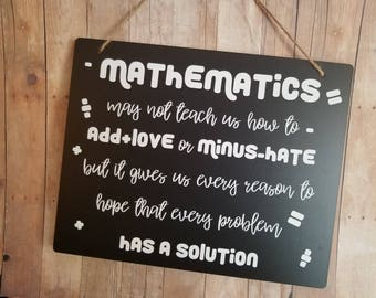7a3c044f Mathematics Teacher Gift Chalkboard Style Sign - Math Teacher Gift - Teacher's  Gift - Teacher Gift - Mathematics Teacher Gift