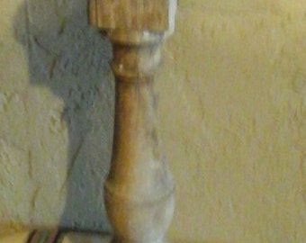 Shappy Chic Lath Dowel Candle holder with Metal plate and Candle..23 inches tall