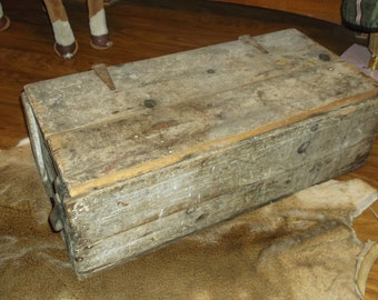 Antique Wooden Pine  Hand Made Lidded Boxwith Leather.Primitive..