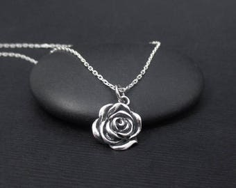 Rose Necklace Sterling Silver Rose Flower Necklace e9896bfac6