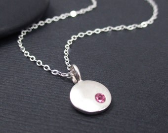Birthstone Charm Necklace Sterling Silver 925 - Personalized - Birthstone Necklace - Personalized Jewelry