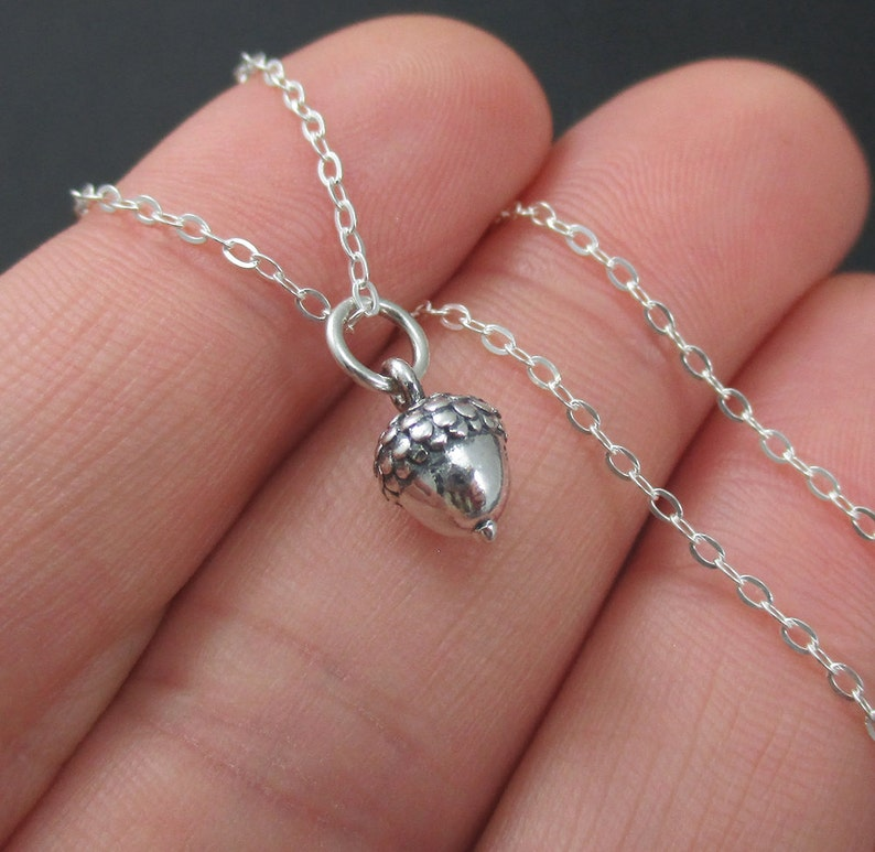 Acorn Necklace Sterling Silver Teeny Tiny Acorn Charm Pendant Nature Jewelry