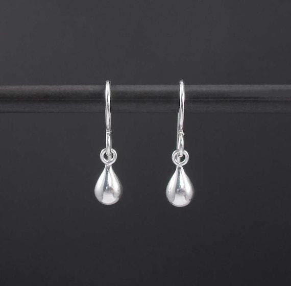 53f98e3f3 Dew Drop Earrings Sterling Silver Tiny Teardrop Earrings   Etsy