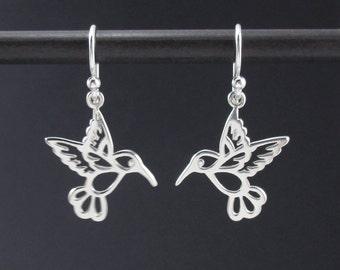 Hummingbird Earrings Sterling Silver Small Hummingbird Charm Earrings, Bird Earrings, Silver Dangle Earrings