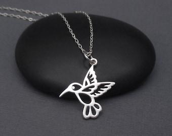 Hummingbird Necklace Sterling Silver 925 Small Hummingbird Pendant Charm