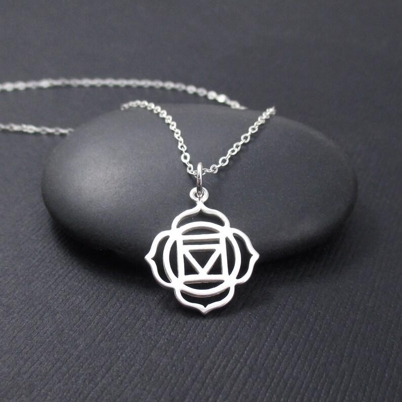 Root Chakra Necklace Sterling Silver Root CHakra CHarm Pendant Chakra Jewelry Yoga Spirit Necklace Yoga Gift Yoga Jewelry