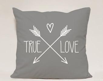True Love pillow cover, Love Pillow Case,Gray Heart Pillow Case, Valentine Day Pillow Case, 16x16