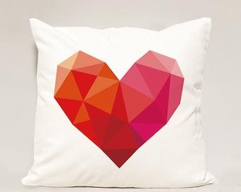Heart pillow Cover , Heart Geometric Pillow Case , Love Pillowcase, Valentine Day Pillow Case