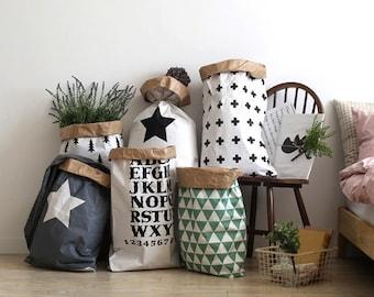 Papier géométrique sac stockage, rangement, panier de rangement, rangement jouet, décoration, sac en papier pour enfants