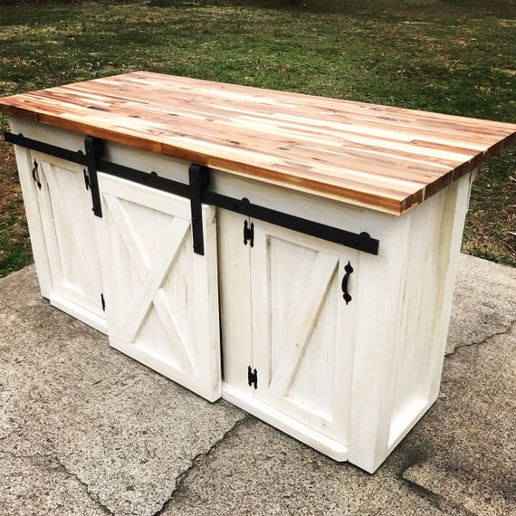 Kitchen Island With Sliding Barn Door Etsy