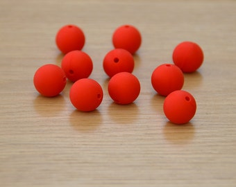 Red, 15mm Round Silicone beads, 10 pack