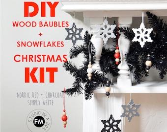 DIY Christmas Decorations / Ornaments KIT - Wooden Baubles & Snowflakes - Nordic Paint