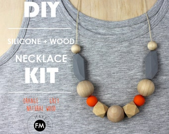 DIY Necklace KIT- Silicone and Wood Necklace - Grey, Orange and Natural Wood beads