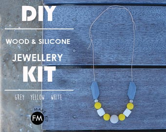 Jewellery Kit//Gifts for Her//Party Activities//Party Games//beading kit//Grey//Yellow//White colourway