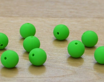 Bright Green 15mm Round Silicone beads, 10 pack