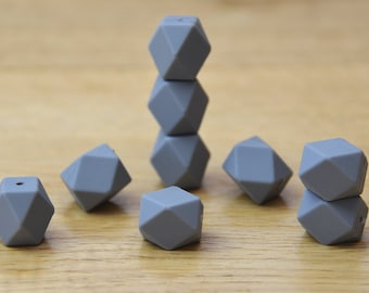 Silicone beads/GREY 19mm Geometric Silicone beads, 10 pack