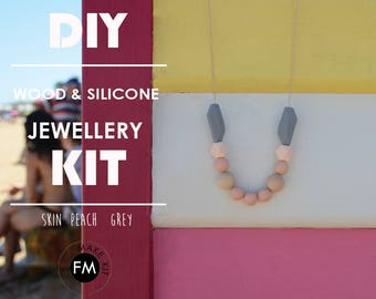 Jewellery kit//beading kit//party Activity//Silicone Beads//Party Game//Skin//Peach//Grey colourway