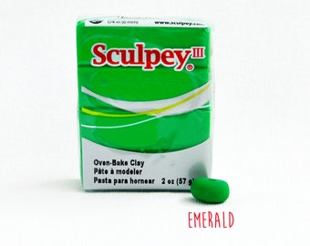 Emerald Polymer Clay - Green colour - Sculpey III Oven Bake Modelling Clay