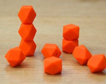 Silicone Beads/ORANGE 19mm Geometric Silicone beads, 10 pack