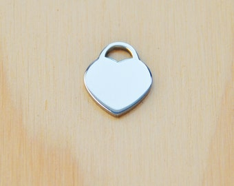 Heart charm/stainless steel heart pendant/love heart charm/contemporary charm
