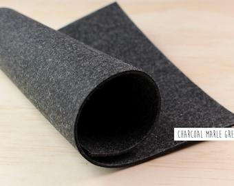 FELT//Charcoal//Dark Marle Grey//Felt fabric sheet//2mm thick felt_20cm x 30cm