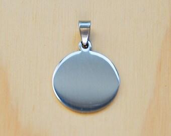 Round charm//Stainless steel pendant//round pendant 25mm diameter //circle charm//blank round charm//round dog tag