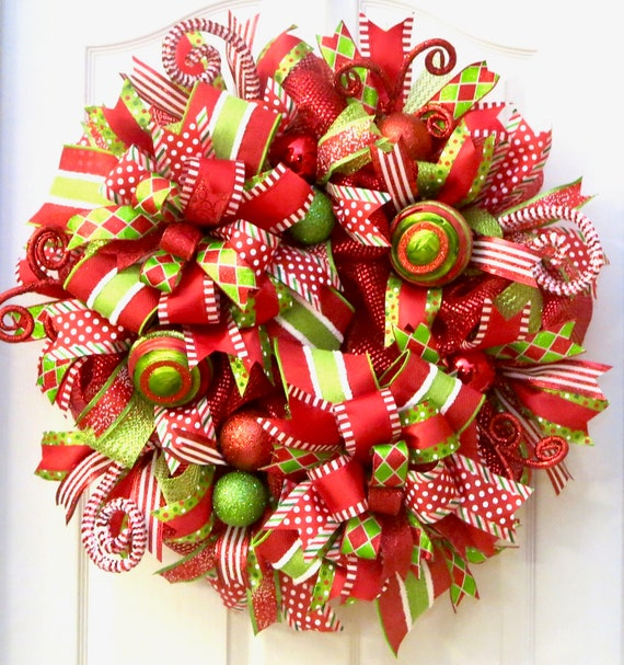 Christmas Wreath.Christmas Wreaths For Front Door Deco Mesh Christmas Wreath Whimsical Wreath Holiday Wreath Christmas Mesh Wreath Red Lime Wreath