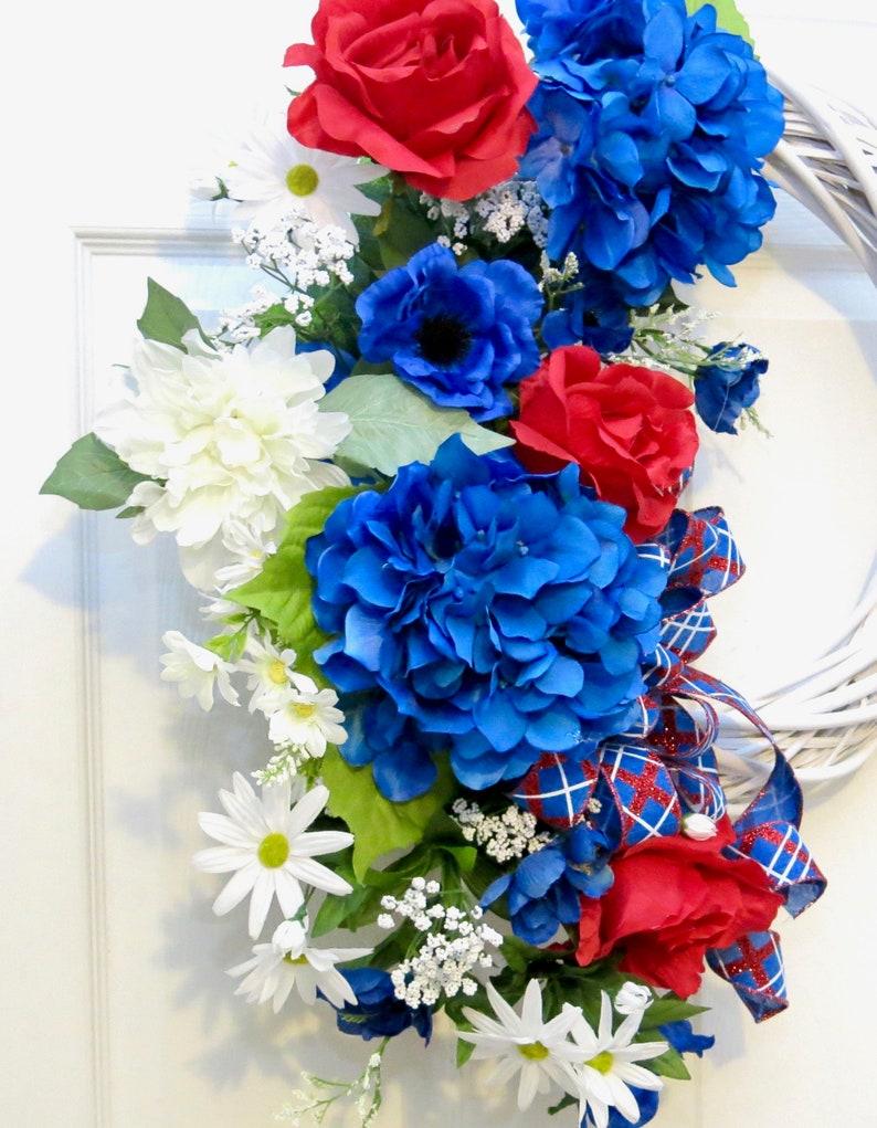 hydrangea wreath Patriotic Wreath wreath hydrangea 4th of July Wreath red white blue Summer Wreaths for front door wicker wreath