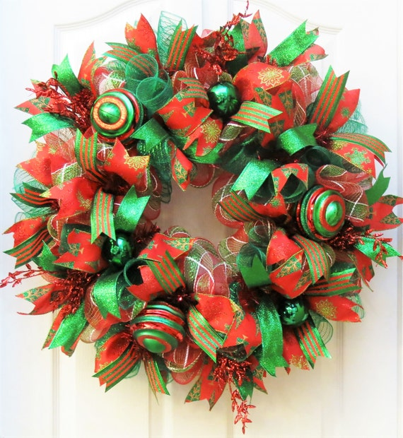 Image Christmas Wreath.Deco Mesh Christmas Christmas Wreaths For Front Door Red Emerald Christmas Wreath Christmas Mesh Wreath Front Door Wreath For Christmas