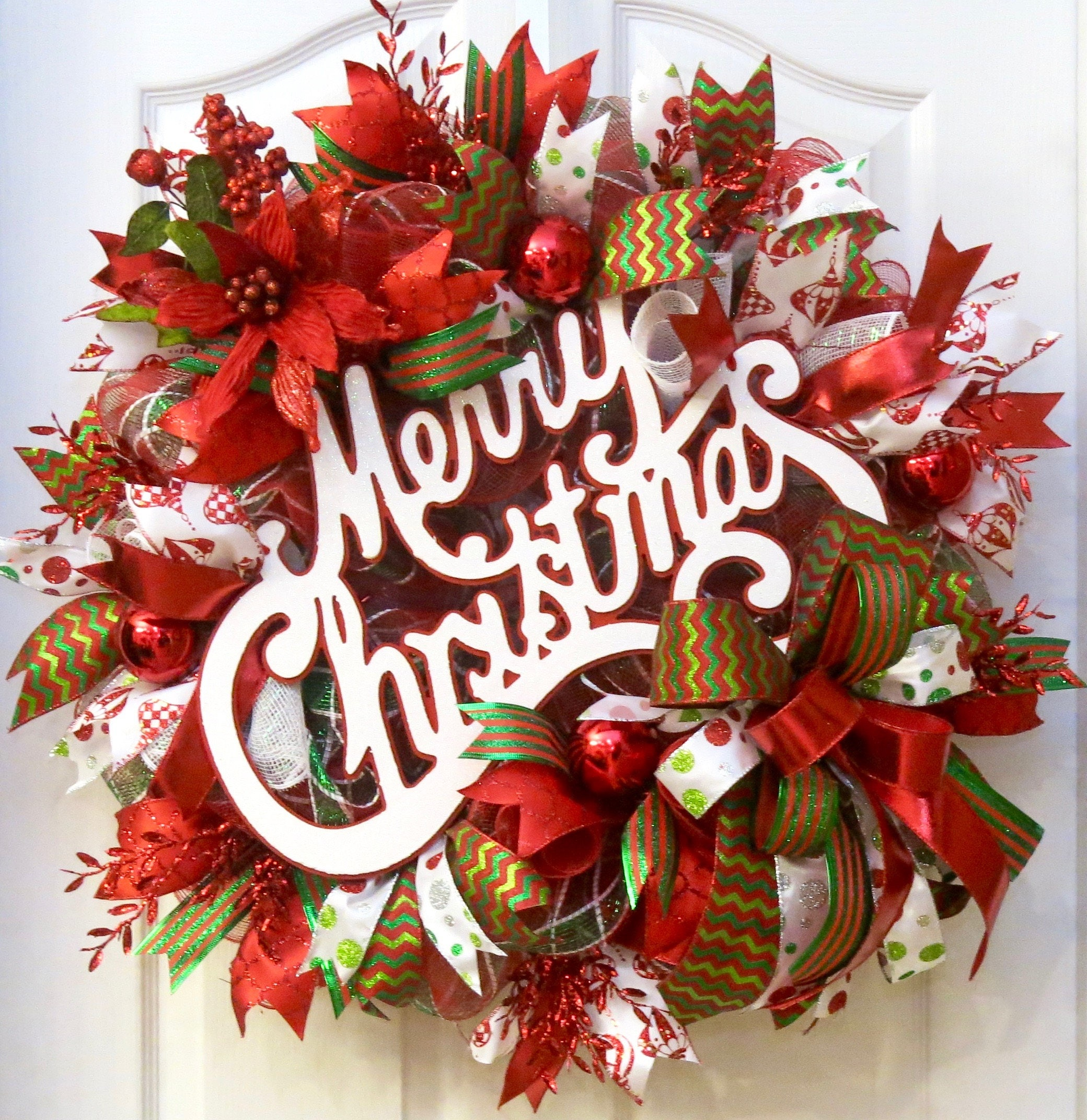 Christmas Wreath Merry Christmas Wreath Deco Mesh