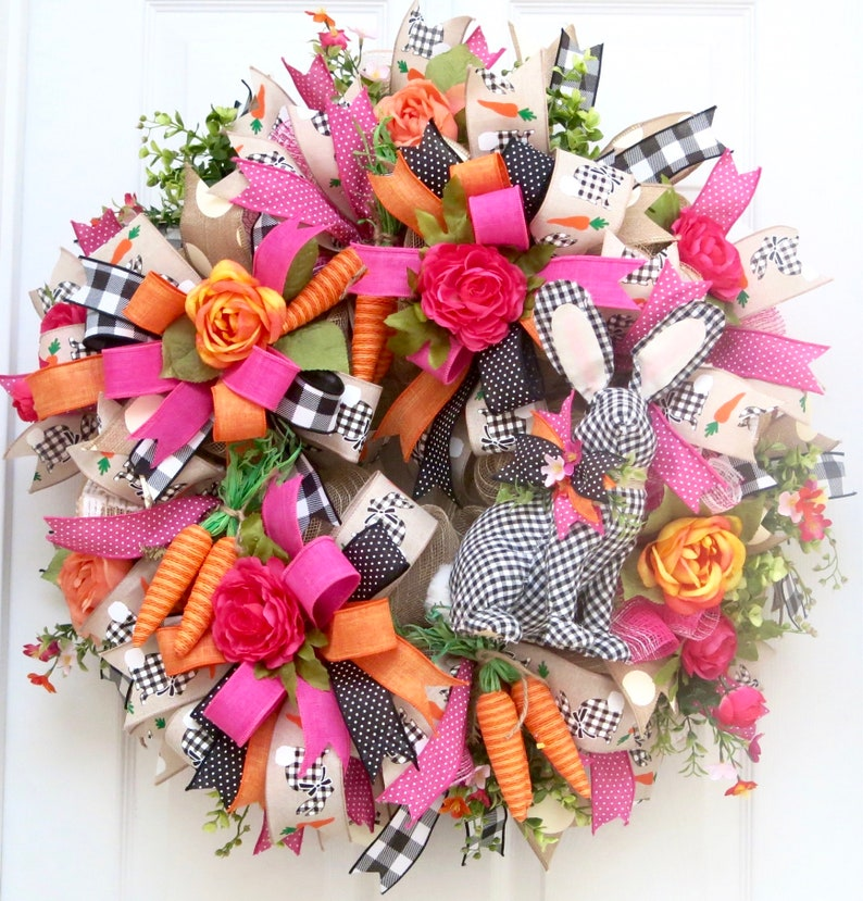 Easter wreath for front door buffalo check Easter wreaths image 0