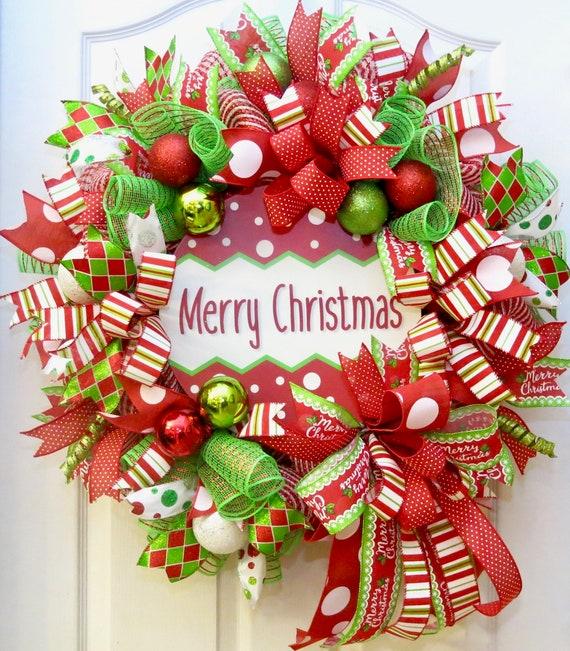 Christmas Wreath.Christmas Wreaths For Front Door Deco Mesh Christmas Wreath Merry Christmas Wreath Christmas Decoration Holiday Wreath Red Lime Wreath