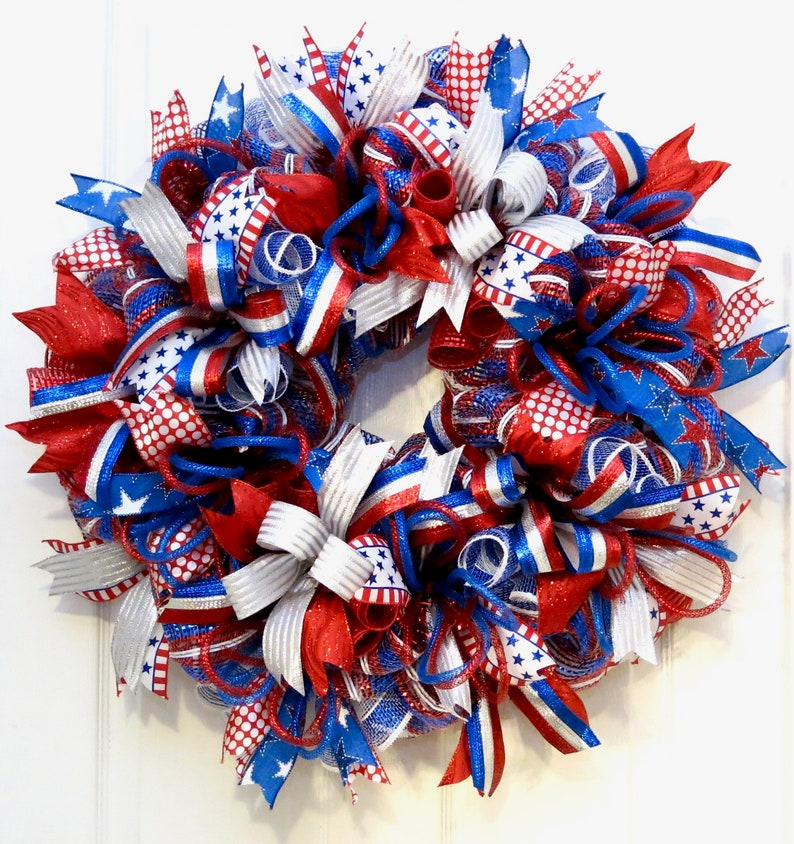 wreaths for front door Patriotic Decor Summer deco Mesh wreath red white blue wreath July 4 Wreath 4th of July Wreath Patriotic Wreath