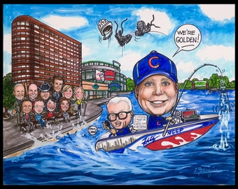 Custom caricature, retirement for men, retirement for women, retirement gift, retirement party, Cubbies caricature, fishing caricature