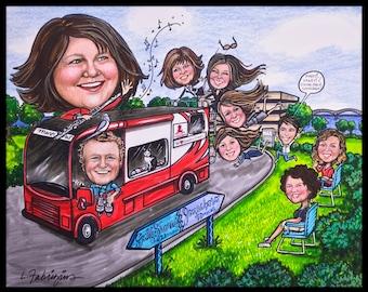 Custom caricature, retirement gift, retirement for women, retirement for men, retirement caricature, retirement cartoon, Christmas card