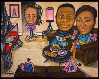 Custom caricature, portrait cartoon, portrait caricature, family portrait, family caricature, cartoon portrait, pet portrait,