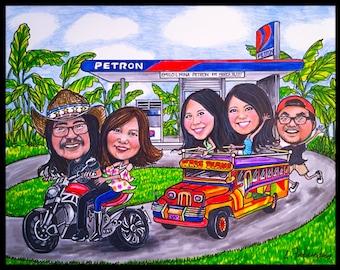 Custom caricature, retirement gift, retirement women, retirement men, retirement cartoon, retirement caricature, wedding gift, caricature