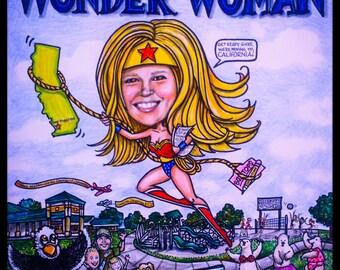 Custom Caricature, portrait caricature, Wonder Woman caricature, cartoon portrait, wedding portrait, portrait caricature, family cartoon