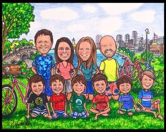 Custom caricature, retirement gift, retirement women, retirement men, Boston caricature, bikingcaricature, wedding gift, wedding caricature