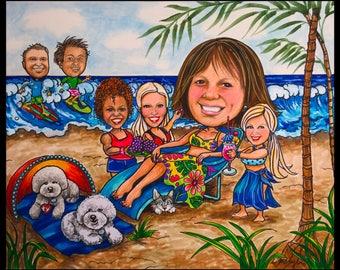 Custom caricature, retirement gift, retirement for women, retirement for men, retirement cartoon, retirement caricature, wedding gift,