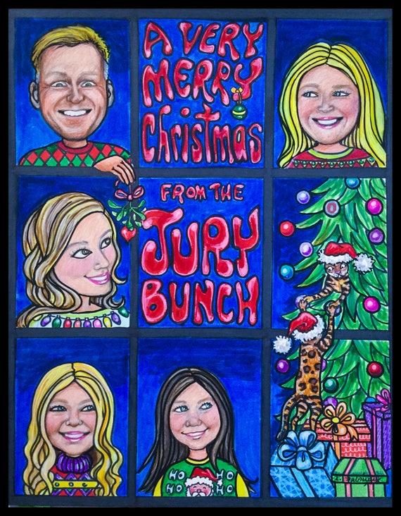 Brady Bunch Christmas Card.Custom Caricature Retirement For Man Retirement For Women Retirement Gift Retirement Party Retirement For Men Retirement For Woman