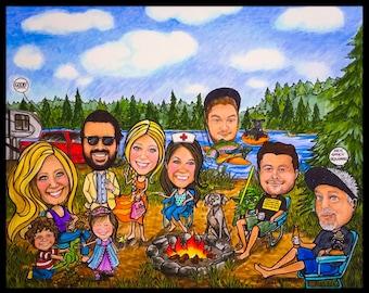 Custom caricature, retirement for women, retirement for man, retirement for men, family caricature, portrait cartoon, portrait caricature