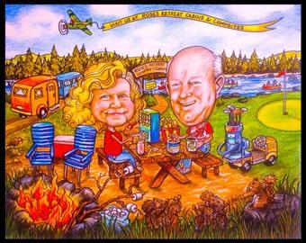 Custom Caricature, camping, portrait caricature, children's portrait, family portrait, cartoon portrait, portrait cartoons, Cartoon art