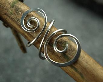 ear cuff, spiral, handmade,wire work,silver