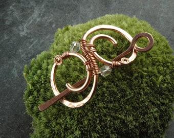 MINI hairslide-copper and chrystal