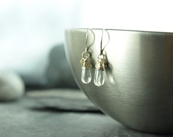 earrings, Silver,drops,clear,chrystal,wire work