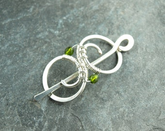 Hairclip, wire work, olive bead