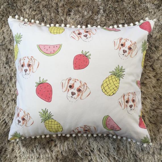 Pom Pom Cushion Home Decor Australian Made Pet Bed Decorative Pillow Fruit Print Dog Bed Floor Cushion