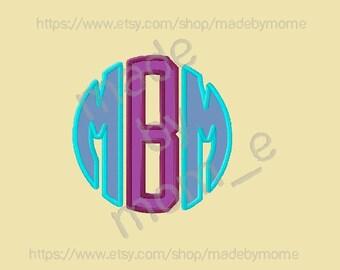 Basic Circle Monogram Applique - 4x4